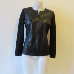 DANA BUCHMAN BLACK LEATHER & KNIT CARDIGAN PS *
